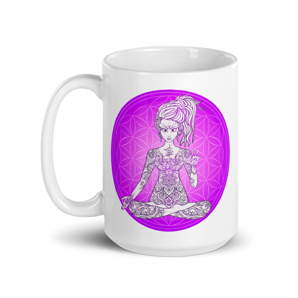 Divine Vibes™ 15oz ceramic coffee mug with goddess and magenta flower of life circle design. Goddess makes peace sign with her right hand. Designed by Goddess Swag.