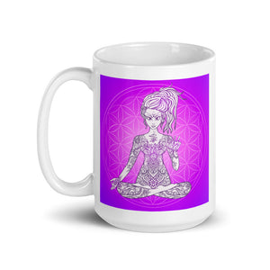 Divine Vibes™ 11oz ceramic coffee mug with goddess and magenta flower of life circle design but with square background. Goddess makes peace sign with her right hand. Designed by Goddess Swag.