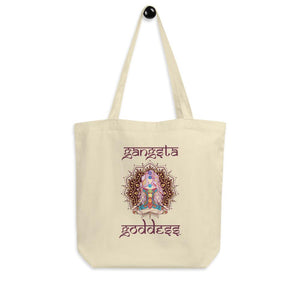 Gangsta Goddess™  in Sanskrit style writing, Small Eco Tote Bag Organic Cotton Oyster Color with Mandala and Chakra Design by Goddess Swag™. Gangsta Goddess is written in deep purple color.