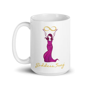 Goddess Swag Signature Logo Ceramic Coffee Mug 15oz with goddess holding  a gold infinity design above her head.  Her dress is magenta.  Goddess Swag is written ion gold.