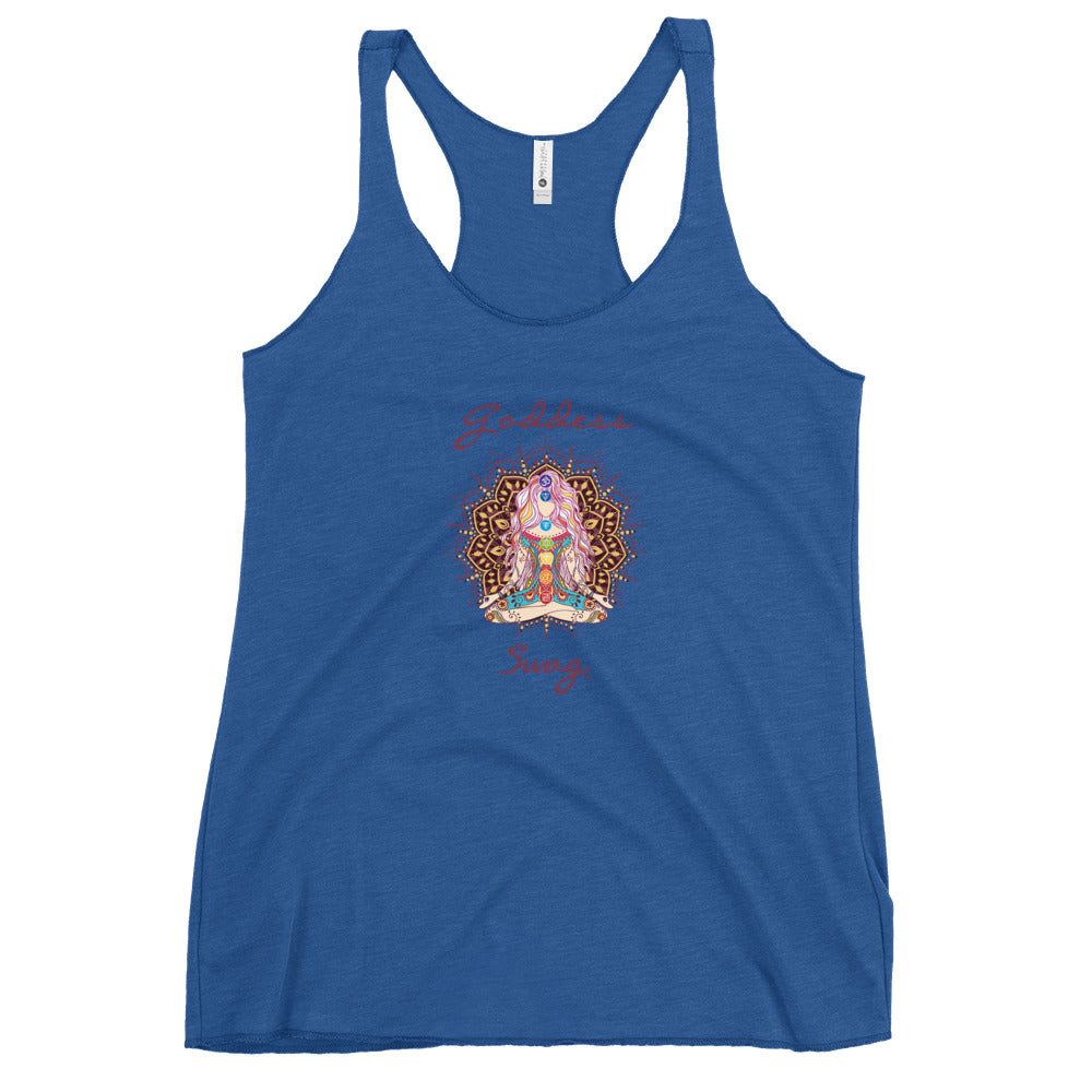 womens racer back tank top vintage royal blue next level 6733 with goddess swag written on front of shirt only and also design of a goddess in lotus position with chakras showing and mandala behind her.  womens clothing. turquoise