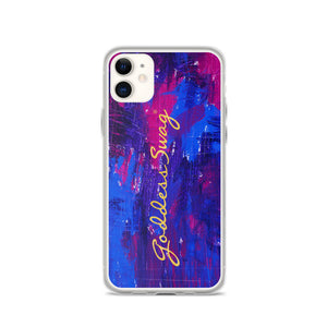 goddess swag iphone cell phone case cobalt blue and magenta abstract backgroud with goddess swag written in gold
