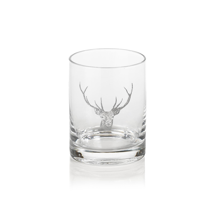 Stag Head Design Double Old Fashioned Glass (Set of 2)