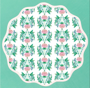 Round Scalloped Placemat | Garden Rose
