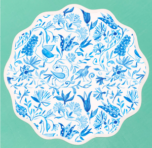 Round Scalloped Placemat: Birds of Paradise