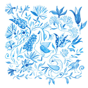 Fenwick Fields Round Scalloped Placemat: Birds of Paradise