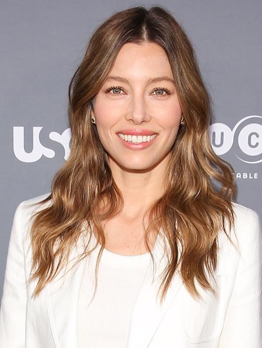 Jessica Biel wearing the Diamond Edge Disc Studs