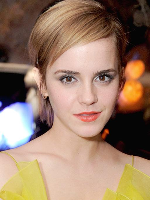 Emma Watson wearing the Classic Petite Diamond Hoop Earrings