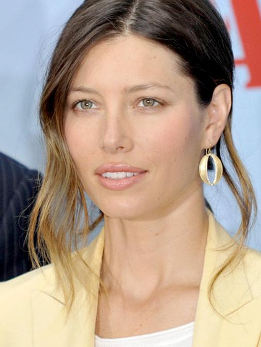 Jessica Biel wearing the Oval Cutout Earrings