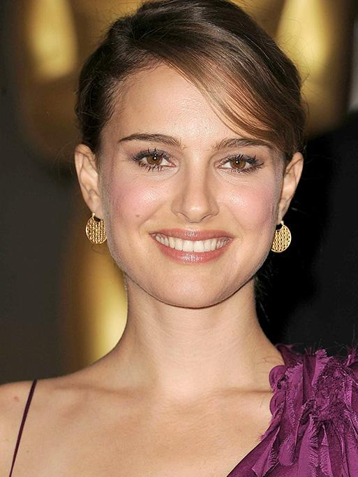 Natalie Portman wearing the Bezel Set Hoop