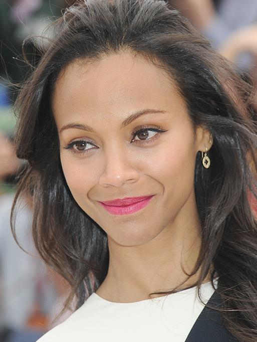 Zoe Saldana wearing the Open Pave Aladdin Earrings
