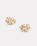 Lotus Studs with Diamonds