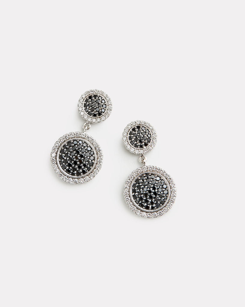 Double Drop Black and White Diamond Disc Earring