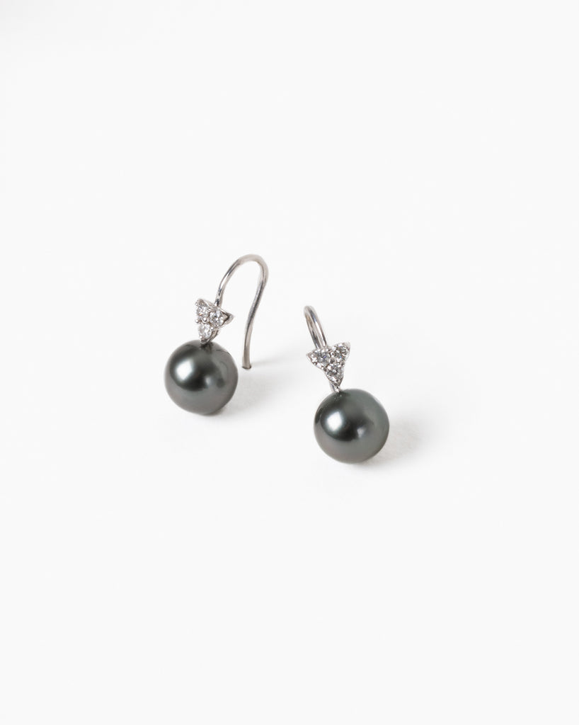 Diamond Cluster Drop Earrings with Black Tahitian Pearls