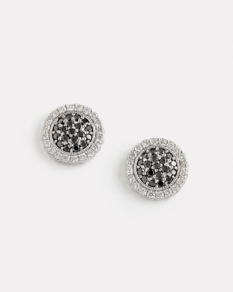 Black and White Diamond Disc Studs