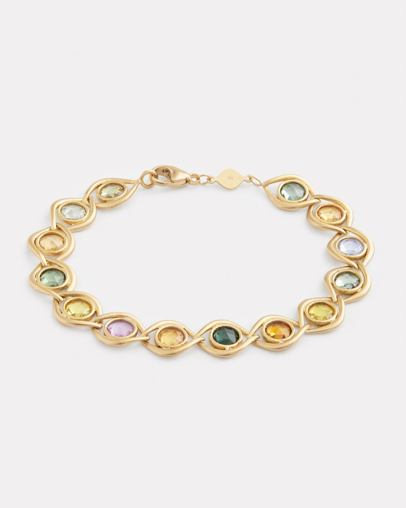 Aladdin Link Bracelet with Rose Cut Multi-Color Sapphires