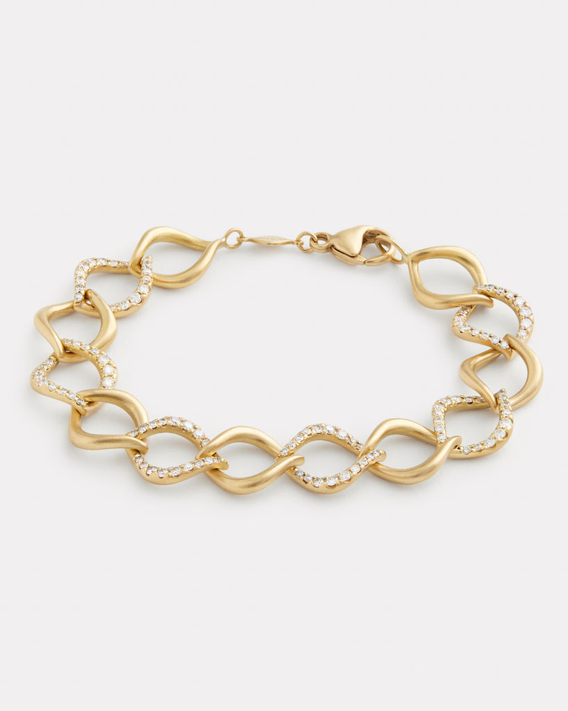 Aladdin Alternating Diamond and Gold Link Bracelet