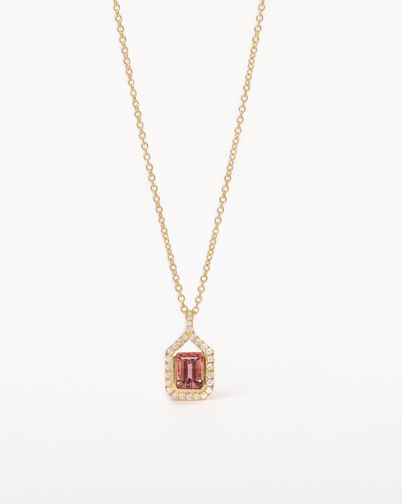 Diamond Wrapped Pink Tourmaline Necklace