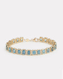 Emerald Cut London Blue Topaz and Diamond Bracelet