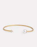 Signature Open Cluster Bangle with Pearl and Diamonds