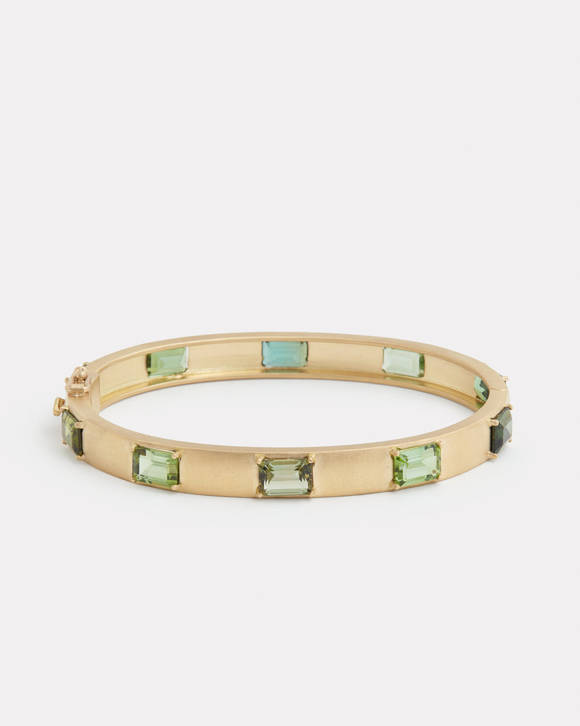 Emerald Cut Green Tourmaline Bracelet