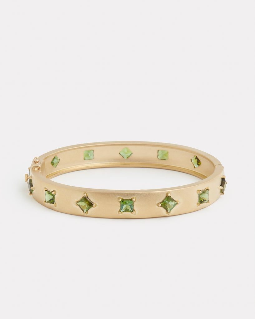 Princess Cut Green Tourmaline Bracelet