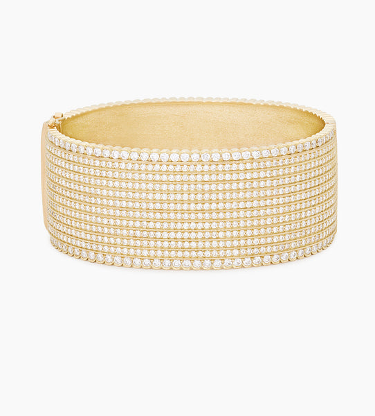 Wide Diamond Hinged Bangle