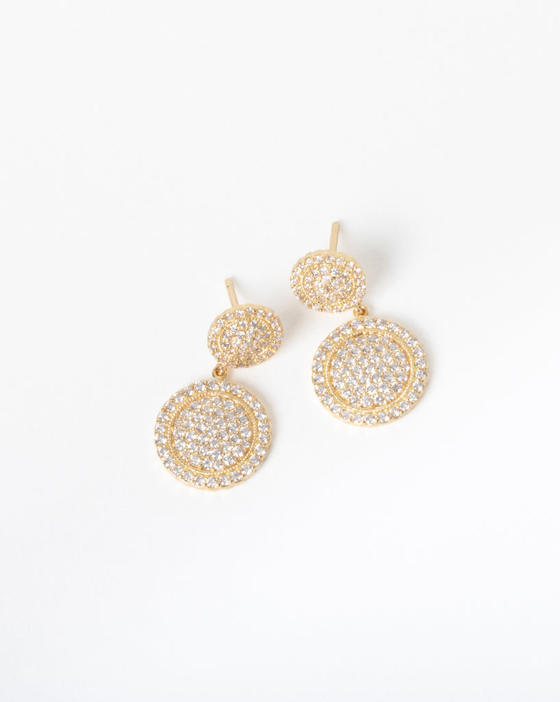 Double Drop Diamond Disc Earring