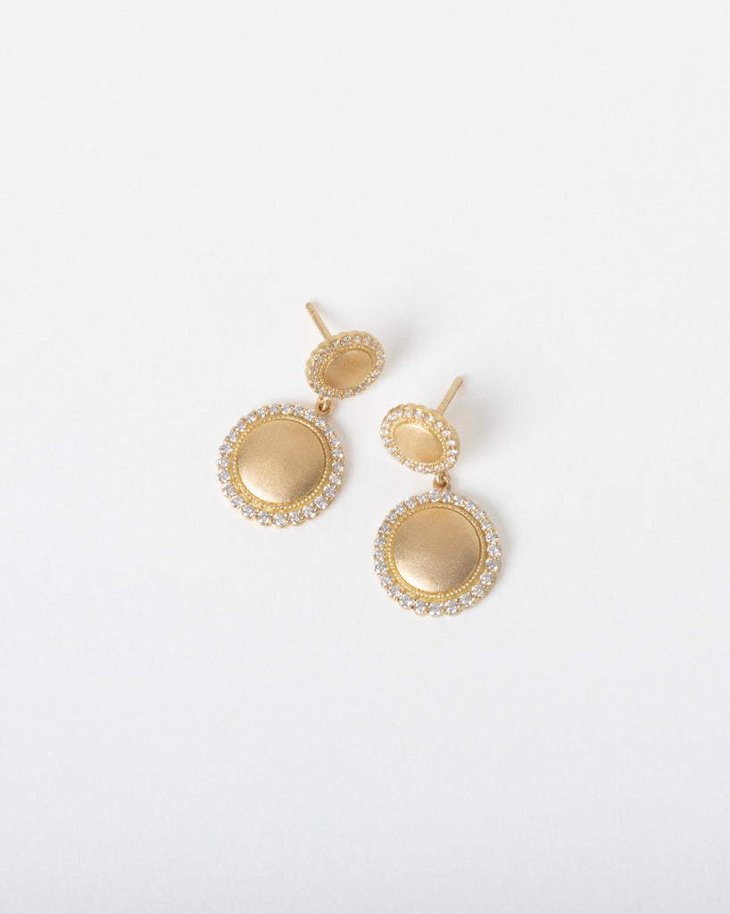 Double Drop Diamond Edge Disc Earring