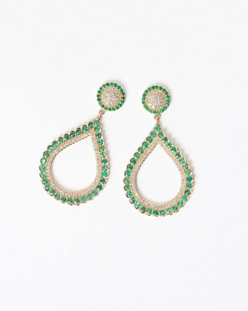 Emerald and Diamond Pear Shape Earrings