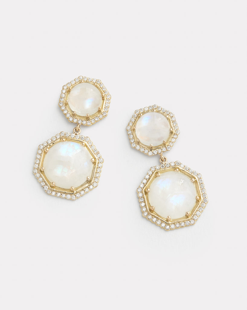 Double Octagon Earrings with Rainbow Moonstone and Diamonds