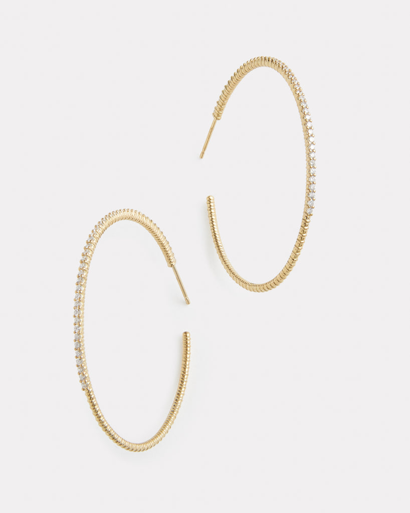 Classic Large Diamond Hoops