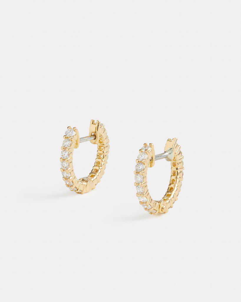 Classic Petite Diamond Hoop Earrings