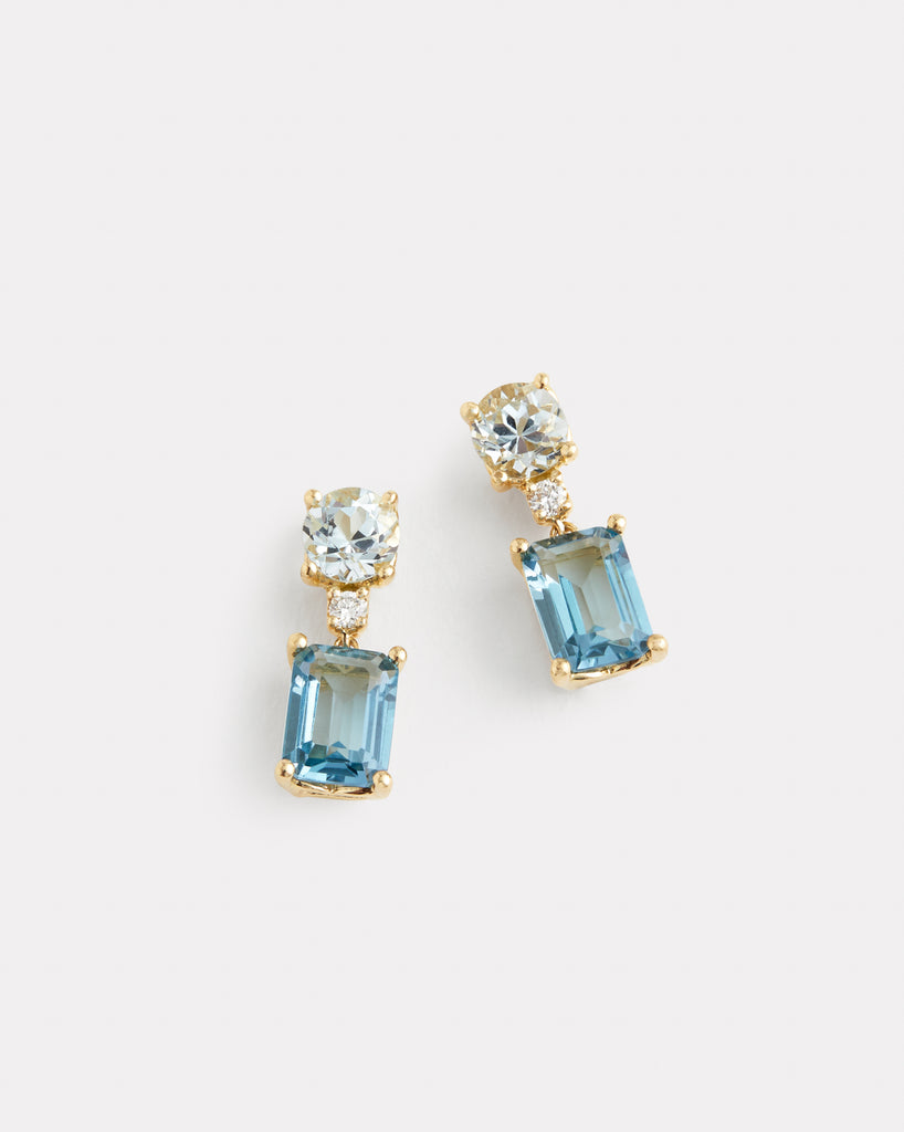 Double Drop Earrings with Aquamarine, London Blue Topaz, and Diamonds