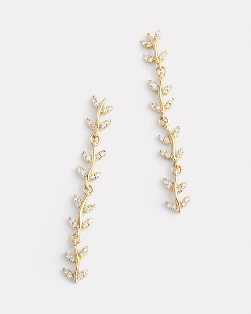 Delicate Vine Earrings with Diamonds