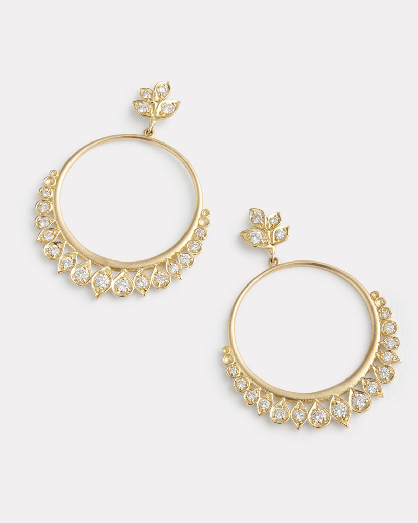 Leaf Petal Diamond Hoops