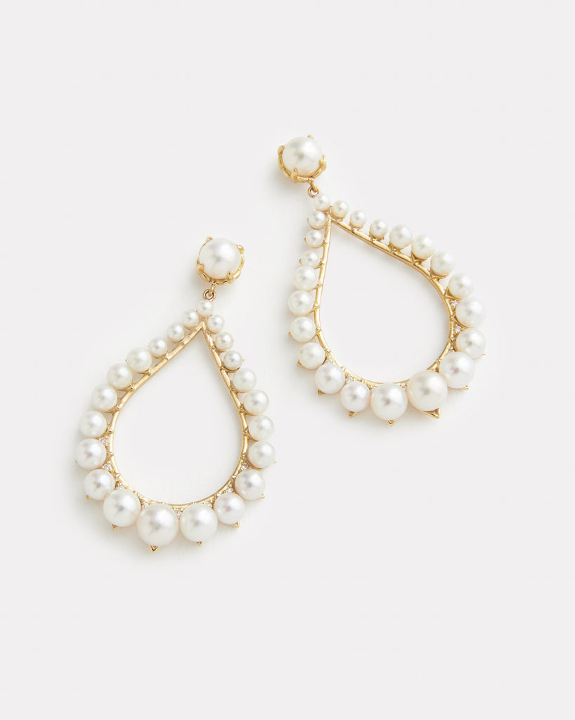 Pear Shape Pearl and Diamond Earring
