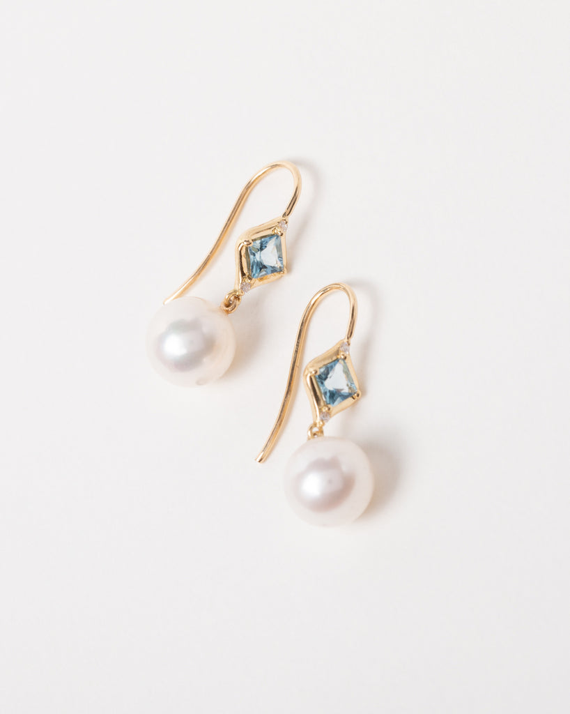 Aquamarine and Pearl Drop Earrings with Diamonds