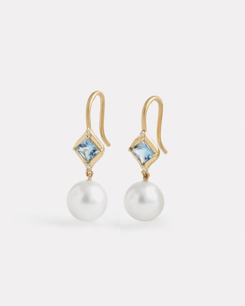 Aquamarine and Pearl Drop Earring with Diamonds