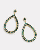 Pear Shape Green Tourmaline and Diamond Earring