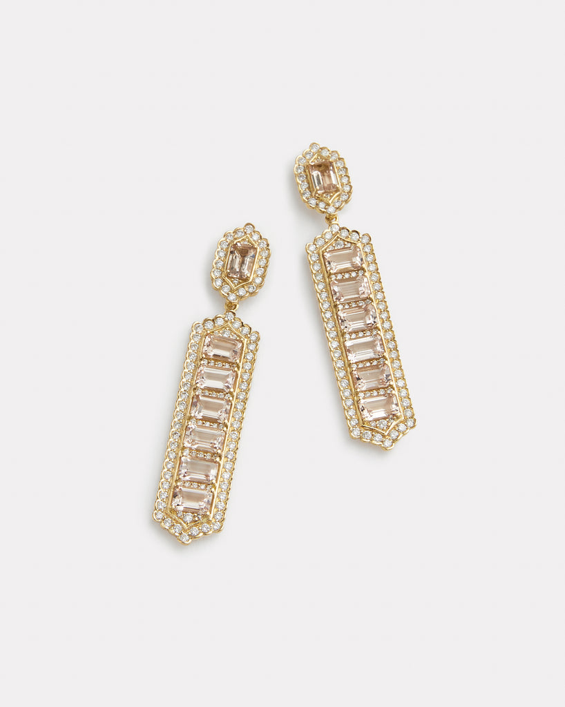 Rectangle Earring with Morganite and Diamonds