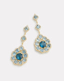 Aquamarine, London Blue Topaz, and Diamond Triple Drop Earring
