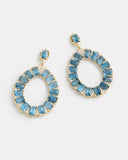 Pear Shape Emerald Cut London Blue Topaz and Diamond Earrings