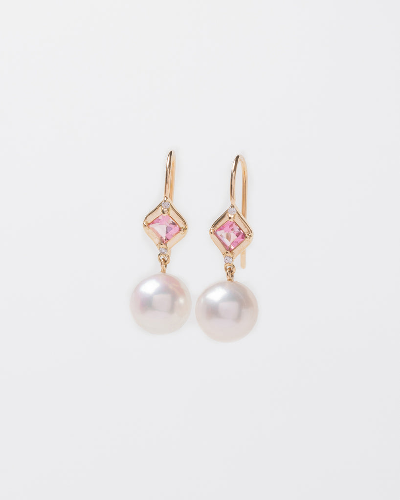 Pink Tourmaline and Pearl Drop Earrings with Diamonds