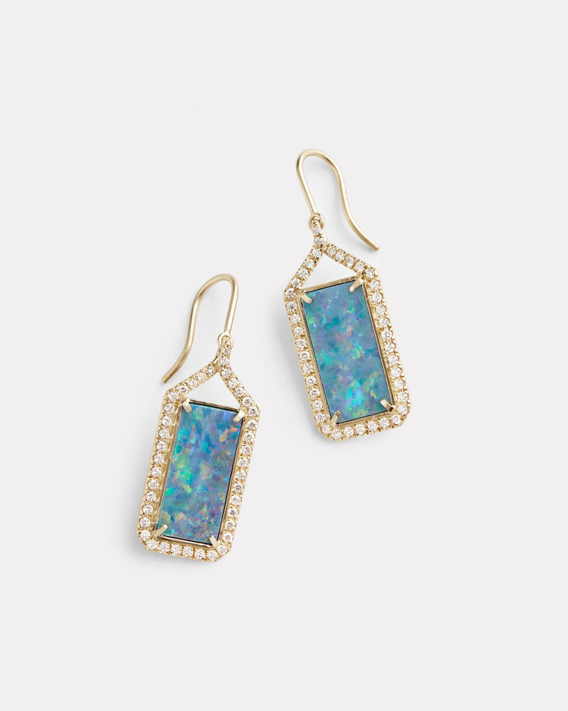 Diamond Edged Opal Rectangle Drop Earring