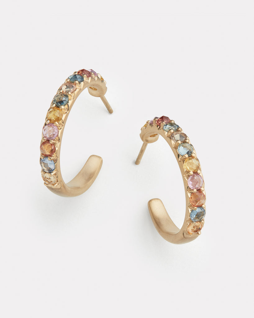 Multicolor Sapphire Hoops