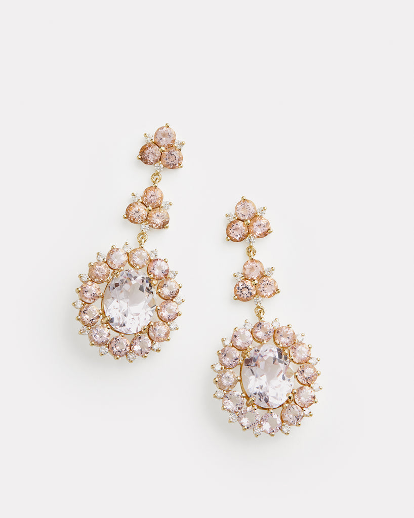 Kunzite, Morganite, and Diamond Triple Drop Earring