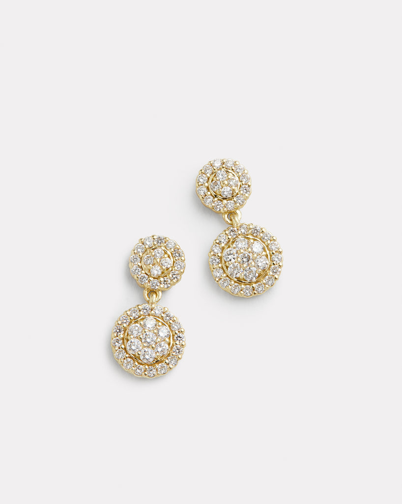 Petite Double Drop Diamond Disc Earring