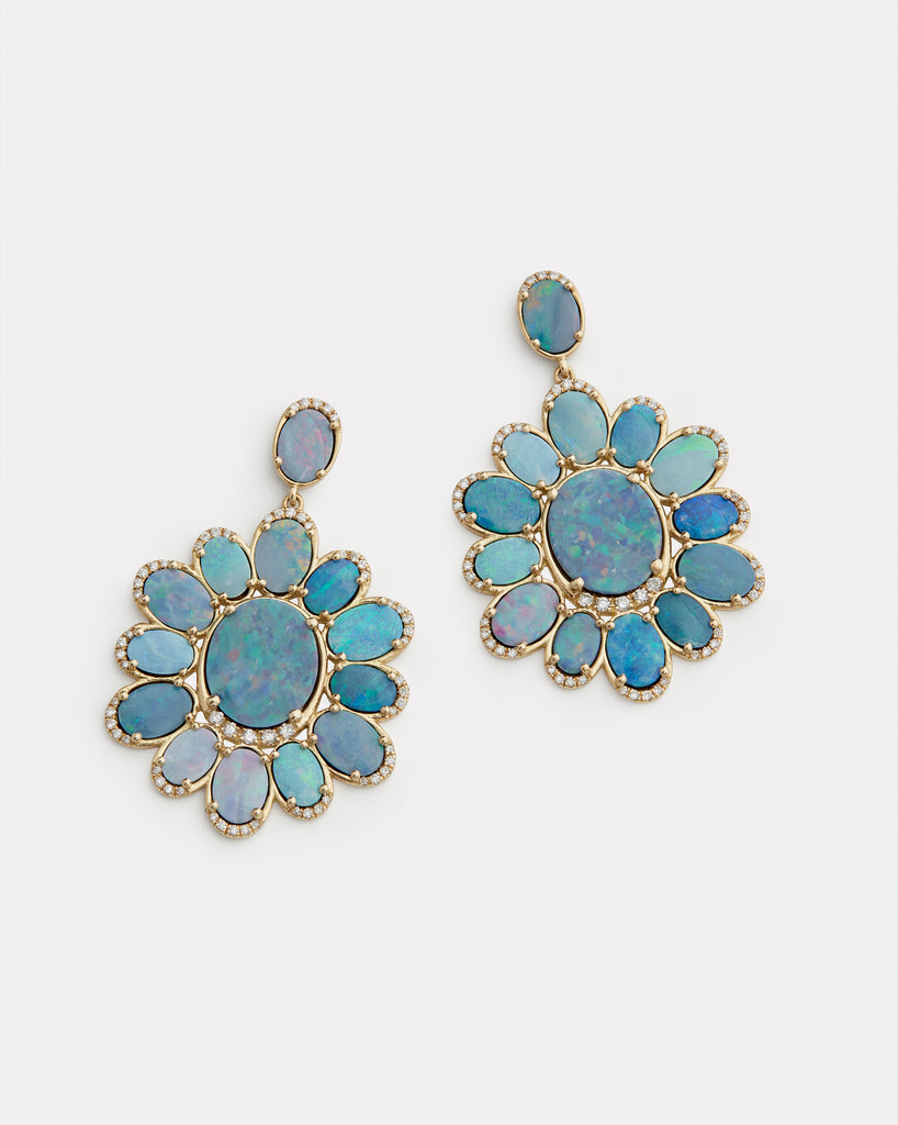 Opal and Diamond Edged Oval Earrings