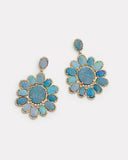 Opal and Diamond Edged Oval Earring